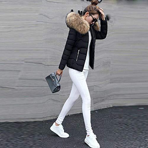Giubotto Piumini Schwarz Giovane Con Donna Cerniera Ragazze Elegante Moda In Pelliccia Style Lunga Cappotti Cappuccio Tasche Invernali Laterali Festa Monocromo Manica Caldo H1HnxqfrUw