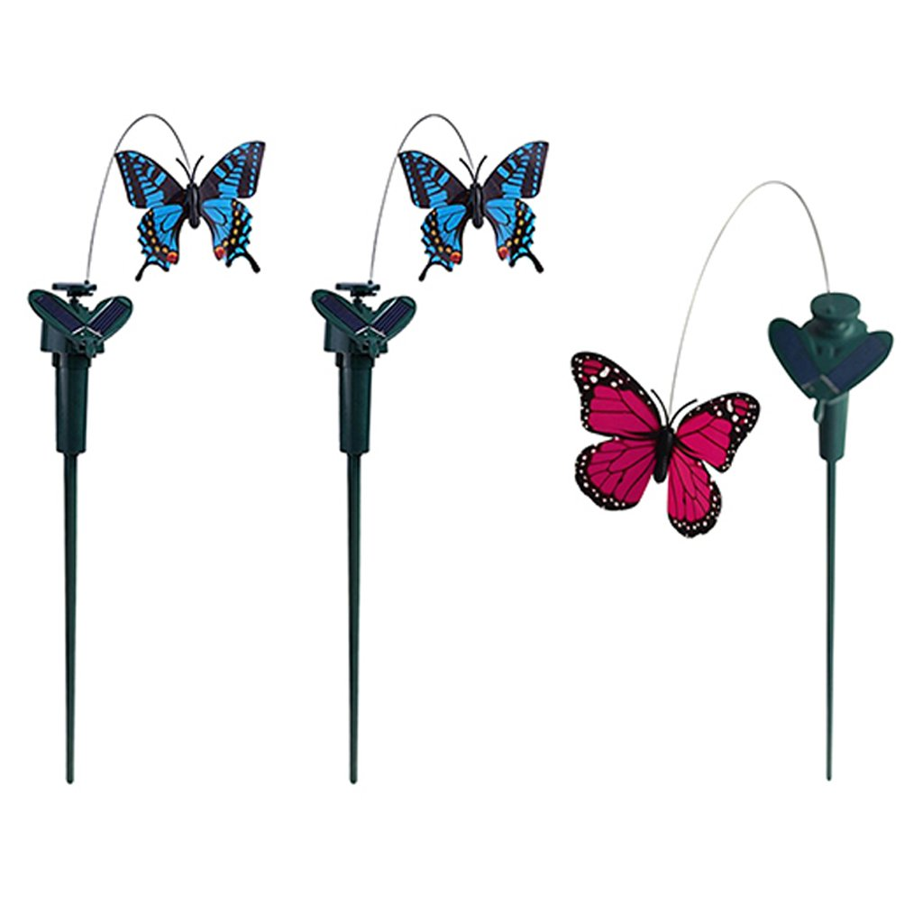 Homyl 3 Pieces Solar Fluttering Dancing Butterfly Stakes Garden Outdoor Lawn Decor