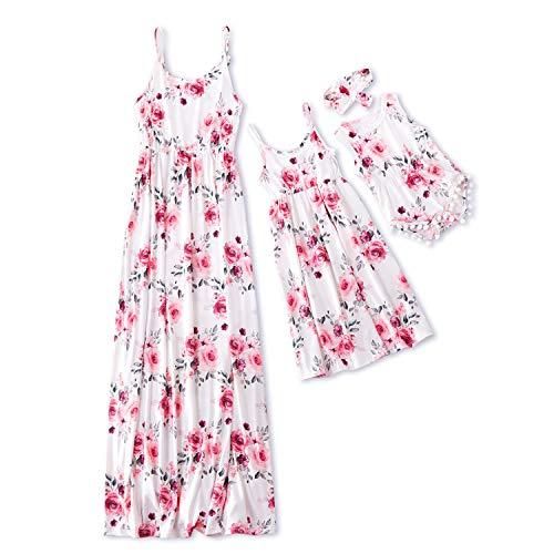 Iffei Mommy And Me Vestido Largo A Juego Correa De Espagueti Con Estampado Floral Vestido Largo Sin Mangas Casual De Verano Con Diadema