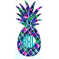 Pineapple Monogram Vinyl Decal Sticker Die Cut - FREE SHIPPING - Custom Car Window Laptop Tumbler Water Bottle Bumper - You Choose Size and Color