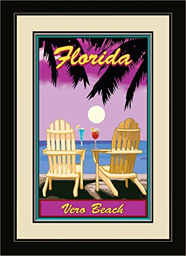 Northwest Art Mall JK-5684 FGDM ACPP Vero Beach Florida Adirondack Chairs Palms Punch Framed Wall Art by Artist Joanne Kollman, 16 x - North Beach Palm Mall