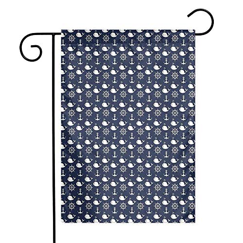 - Mannwarehouse Navy Blue Garden Flag Maritime Pattern with Whales Helms Anchors Nautical Elements Deep Sea Life Premium Material W12 x L18 Navy Blue White