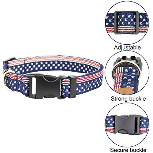 Egoola American Flag Dog Collars Adjustable USA Basic Dog Collar Soft Comfortable Pet Collar for Size S M and L Dogs (M 19-13 inch)