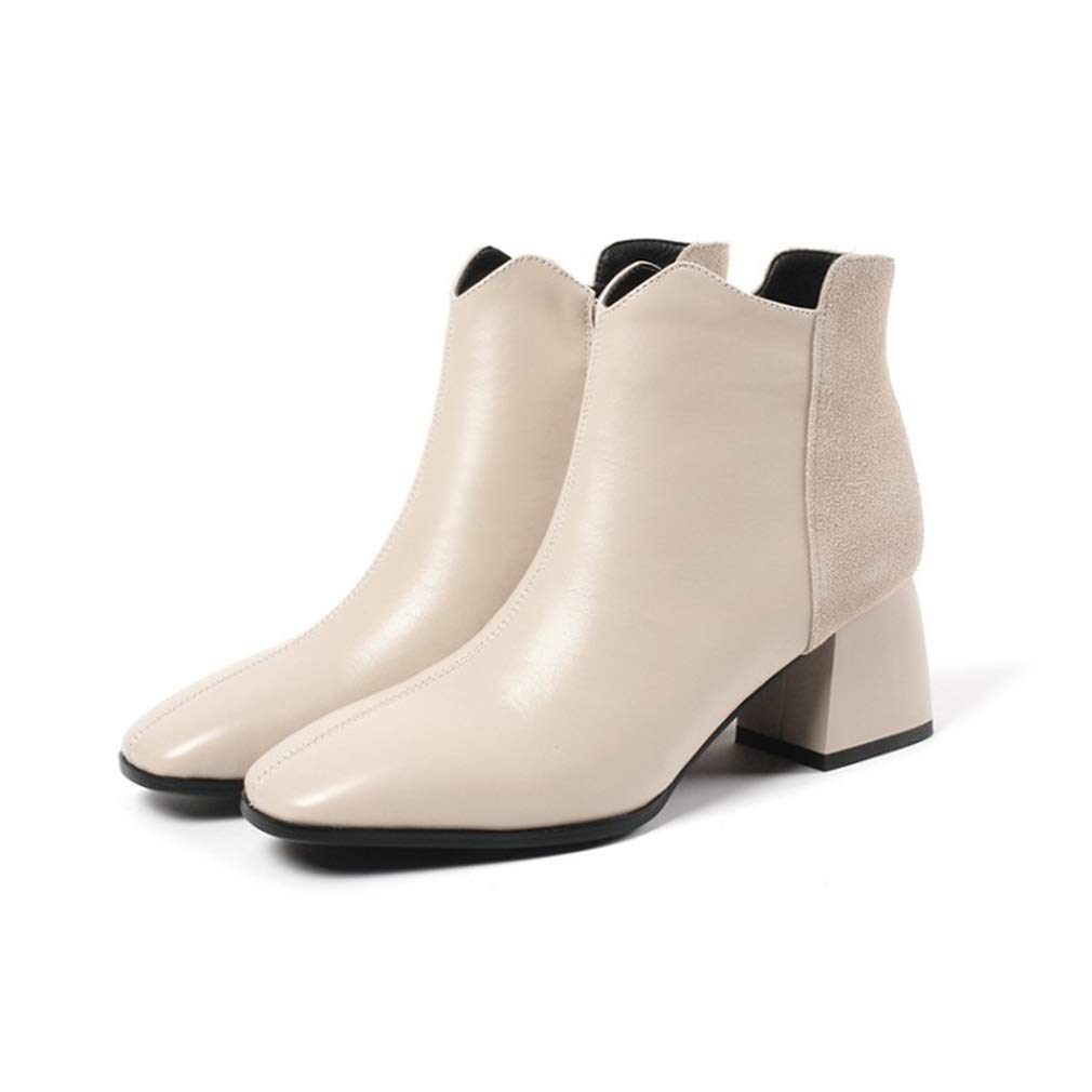 A Women Booties, Leather Ankle Boots Winter Chelsea Comfortable Anti-Slip Martin Boots Pointed Leather Ladies Fashion Boots (color   A, Size   36)