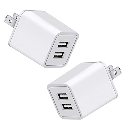Amazon.com: Cargador de pared, 2,4 A, 12 W doble puerto ...