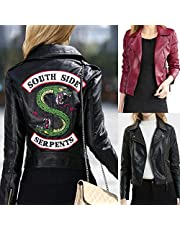 Female Riverdale Leather Jackets Winter Slim Motorcycle Bomber Jacket Coats South Side Serpents Printed Black Wine Red