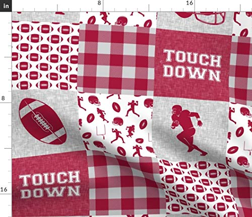 Football Fabric - Football Patchwork Crimson Plaid College Nursery Sports Cheater Quilt by Littlearrowdesign Printed on Organic Cotton Knit Ultra Fabric by The Yard