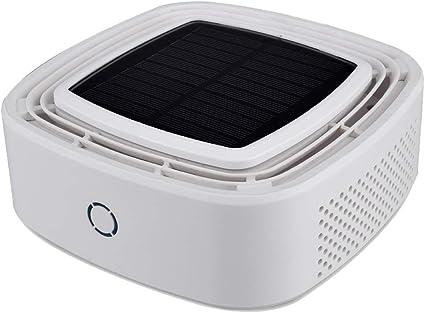 Purificador de Aire,Solar Coche Purificador Aire con HEPA y Carbón Activado Filtro,2500mAh USB Batería Recargable para Hogar,Oficina,Dormitorio,Tabaco,Alergia,Polvo, Olores,Mascotas Dander,White: Amazon.es: Hogar
