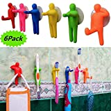 MEILIJIA Pack of 6 Colorful People Toothbrush Holder & Utility Suction Hook