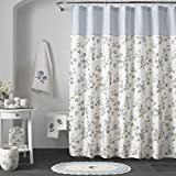 Five Queens Court Rosalind 100% Cotton, Embellished, Crochet Trim, Country Chic Floral Shower Curtain, Blue