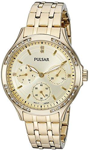 Pulsar Women's PP6190 Chronograph Analog Display Japanese Quartz Gold (Pulsar Gold Wrist Watch)