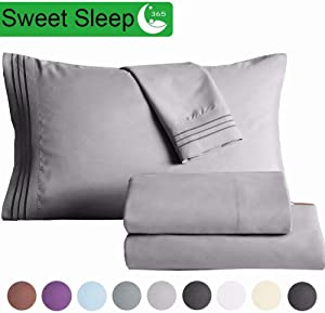 "SAKIAO King Size Bed Sheets Set - Brushed Microfiber 1800 Thread Count Percale - 16"" Deep Pocket Egyptian Sheets Beautiful Breathable Wrinkle Free & Fade Resistant - 4 Piece (Dark Grey,King)"
