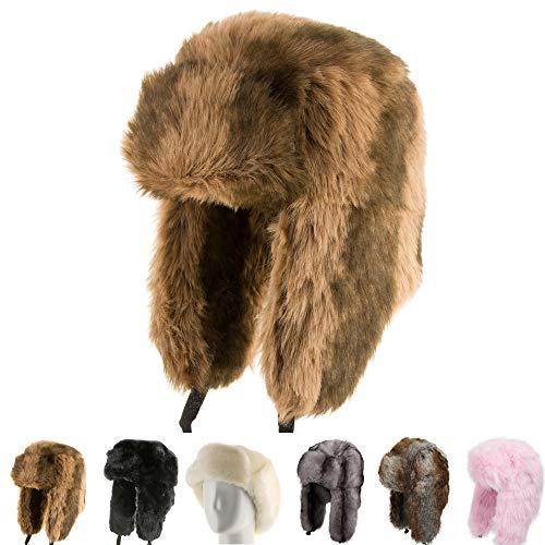 Explorer Ushanka Winter Trapper Faux Fur Pilot Hat with Ear Flaps BROWN 7 ()