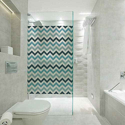RWNFA Non-Adhesive Glass Films Anti Uv,Ocean Inspired Image with Sharp Zig Zag Chevron Image Decorative,Customizable Size,Suitable for Bathroom,Door,Glass etc,Dark Blue Sky Blue Light Blue and White ()