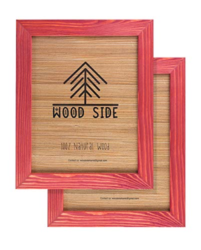 Rustic Wooden Picture Frames 8x10 - Red - Set of 2 - 100% Natural Eco Solid Wood and High Definition Real Glass for Wall Hanging Photo Frame (Frames For Photos Red)