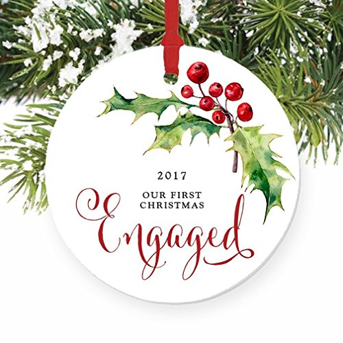 Our First Christmas Engaged Ornament 2017, Holly Berry Engagement Gift Porcelain Ornament, 3