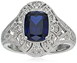 platinum plated sterling silver created sapphire vintage style swarovski zirconia accents ring (3 cttw), size 6