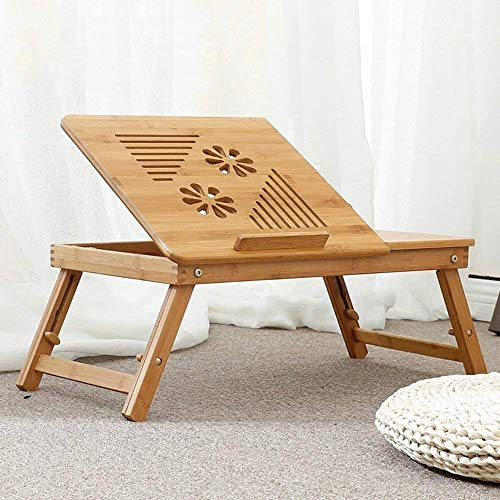 MKKM Lazy Table- Fold Laptop Table Portable Bamboo Arts Study Table Adjustable Height Tray Table Bed Table with Drawer 643522~30Cm Save Space by MKKM