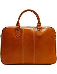 Venezia Slim Olive (Honey) Brown Briefcase Attache Lap-top Case