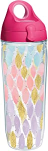 Tervis 1288142 Metallic Touch Tumbler with Wrap and Passion Pink Lid 24oz Water Bottle, Clear