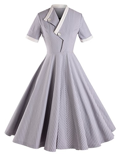 GownTown-Striped-Short-Sleeve-Dresses-Swing-Stretchy-Dresses