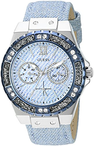 GUESS Women's U0775L1 Sporty Silver-Tone Stainless Steel Watch with Multi-function Dial and Blue Strap Buckle