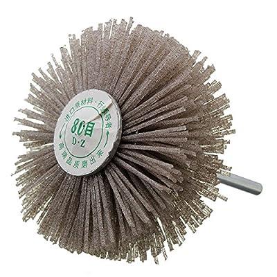 Letbo New 6mm Shank 80 Grit Abrasive Grinding Wheel Brush Woodworking Polishing Wheel