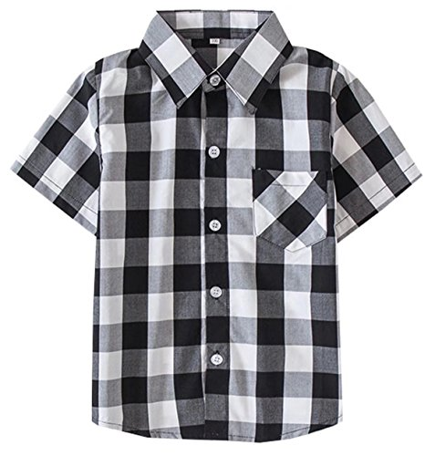 Kids Short Sleeves Button Down Plaid Shirt Tops for Toddlers and Little Boys, Black White, Tag 120 for Age 4-5 Years ()