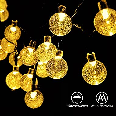 RECESKY Battery Operated Crystal Ball String Lights 30 LED 20.8ft Fairy Globe Decor Lighting for Outdoor, Indoor, Garden, Festival, Garland, Wreath, Xmas, Christmas Tree Decorations (Warm White)