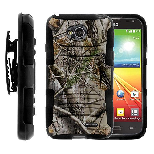 (MINITURTLE Case Compatible w/ LG Ultimate 2 Case, LG Ultimate 2 Holster, layer Hybrid Armor Hard Cover w/ Stand for LG Optimus L70 MS323, LG Optimus Exceed 2 VS450PP, LG Realm LS620, LG Ultimate 2 L41C (Metro PCS, Verizon, Boost Mobile) - Tree Bark Hunter Camo)