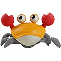 Wind Up Crab Toys for Kids Baby Bath Toys Walking Crab Water Toys Beach Toys Kid (Orange)