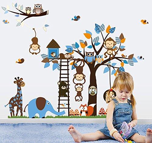 Colorfulworld® XXXL! Dschungel-Zoo: Affe Giraffe Elefant & Eule Wandtattoo Wandaufkleber Wandsticker Kinderzimmer Geschenk Gr.60*90cm x2pcs