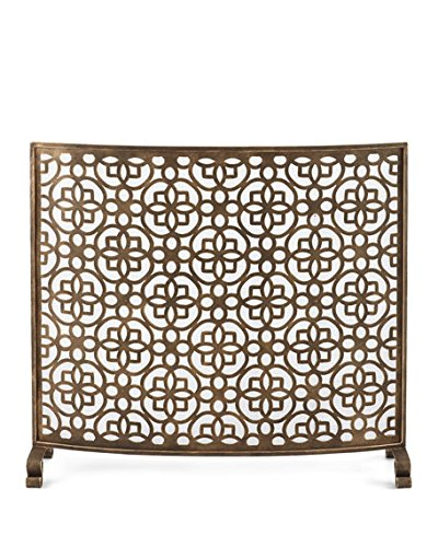 Art Deco Gold Fretwork Single Panel Fire Screen | Curved Floral Mid Century Modern Fireplace