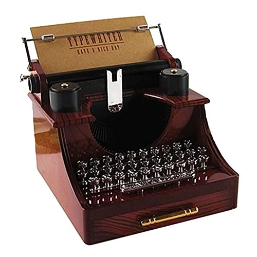 Balai Retro Typewriter Music Box Classical Desk Decor Clockwork Style Musical Box