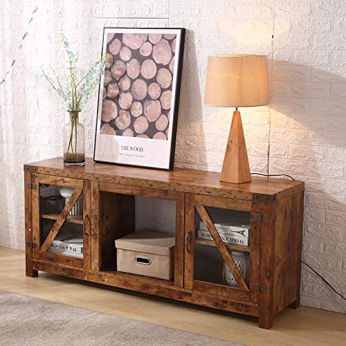 Lipo Rustic TV Stand Farmhouse Large Storage TV Stand Console Glass Door in Stone,Brown