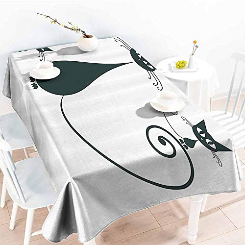 Homrkey Polyester Tablecloth Cat Lover Decor Collection Cat Silhouette Mom and Kids Animals Simplicity Halloween Decorative Illustration Black White Washable Tablecloth W70 xL84]()