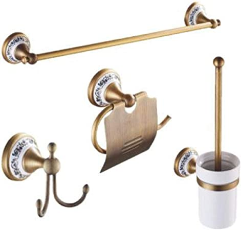 Accessori Bagno In Ottone.Llzgpzgj Set Di Accessori Da Bagno In Ottone Anticato Con Base In Ottone Satinato Set Di Accessori Per Bagno In Ceramica Color Bronzo Con Decorazione Floreale Amazon It Casa E Cucina