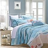 2 Piece Serene Maui Themed Reversible Quilt Set Twin Size, Nautical Calm Bayside Patterned Bedding, Breathtaking Coastal Ocean Waves Design, Artful Modern Teenage Girls Bedroom, Blue, Turquoise