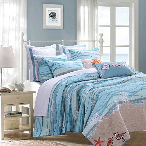 2 Piece Serene Maui Themed Reversible Quilt Set Twin Size, Nautical Calm Bayside Patterned Bedding, Breathtaking Coastal Ocean Waves Design, Artful Modern Teenage Girls Bedroom, Blue, (Bayside Twin Bed)