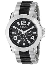 August Steiner Men's AS8114TTB Multifunction Silver-Tone and Black Bracelet Watch