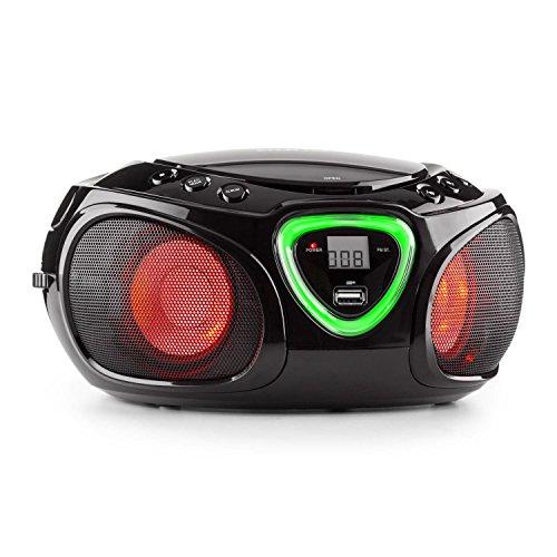 auna Roadie Boombox mobiler CD-MP3-Player mit USB-Anschluss Stereolautsprecher Küchenradio (Bluetooth, 2.1 LED-Beleuchtung mit Rhythmussteuerung, UKW-Radio, AUX, Batteriebetrieb, Tragegriff) schwarz