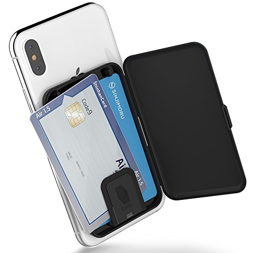 Phone Card Holder, Sinjimoru Stick-on Phone Card Case/Phone Wallet/Credit Card Holder on Back of Phone for up to 3 Cards and Cash. Sinjimoru Card Zip, Black. (Case Back The On)