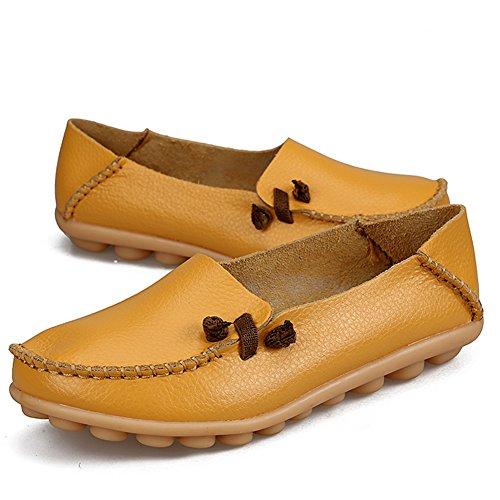 Shopping Semelle Emmancher Femmes À Des Pour Du Chaussures Cuir La Mocassins Souple La Jaune Occasionnels Véritable Plates Mode En Conduite gUx7S