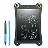 WOBEECO LCD Writing Tablet Frog Pad Children Doodle Pad Scribble Game Magnetic Drawing Board Kid's Fun Toy Smart Learning Tool 2 Styluses Included (Blue)