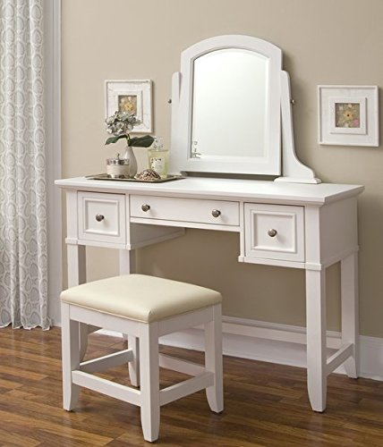 Vanity and Stool Set Straight and Curved Lines Two Felt Lined Drawers on Side Center Storage Drawer Brushed Nickel Hardware and Cream Colored Vinyl Cushioned Seat by AVA Furniture