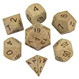 Paladin Roleplaying Wooden DND Dice - Full RPG Dice Set (Cherry)