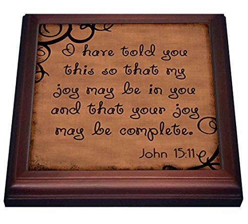 "3dRose trv_150069_1 Bible Verse John 15-11 Brown Background Bible Christian Inspirational Saying-Trivet with Ceramic Tile, 8"" x 8"", Brown"