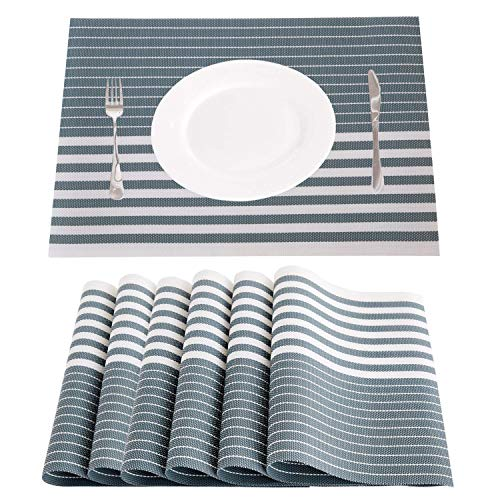 NJCharms Placemats, Heat Resistant Washable Nautical Placemats for Dining Kitchen Table Environmental PVC Wipeable Crossweave Vinyl Woven Plastic Placemats Table Mats Easy to Clean (6, B-mitt Green)