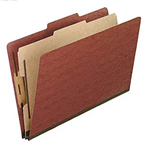 Pendaflex Pressboard Classification Folders, Legal Size, 4-Section, Red, 10 per Box (2157R)