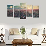 Hotel wall decoration flowers field landscape nature sunrise sunset personalized canvas print home bedroom decoration canvas oil painting mural design 5 Piece Canvas painting (No Frame)